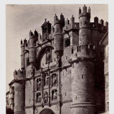 Fotografía antigua: BURGOS - 84. EL ARCO DE SANTA MARÍA. FOTO: J. LAURENT. 25X33,5 CM.. Lote 190717478