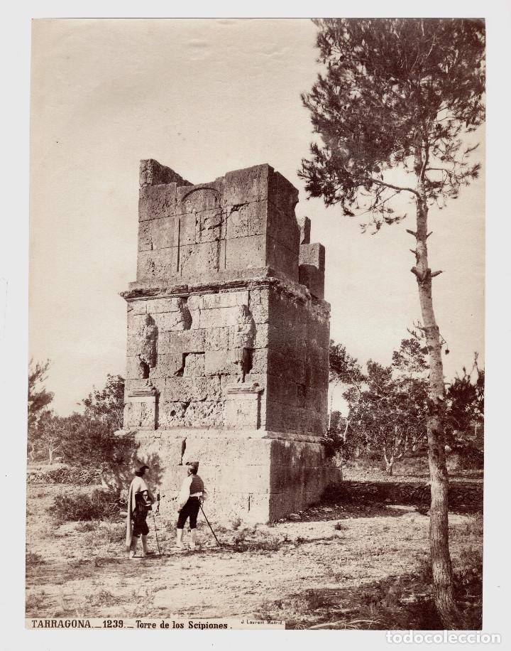 Fotografía antigua: TARRAGONA - 1239. TORRE DE LOS SCIPIONES. FOTO: J. LAURENT. 25x33,5 cm. - Foto 2 - 190719686