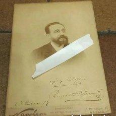 Fotografía antigua: ALBÚMINA 25 X 17 CM RUPERTO CHAPI CON FIRMA DEDICATORIA 1899 COMPOSITOR ZARZUELA. NAPELON BARCELONA. Lote 190991121