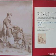 Fotografía antigua: 1880CA FOTOGRAFÍA ORIGINAL ALBÚMINA. AFILADOR AMBULANTE. EL CAIRO, EGIPTO. MONTADA CARTULINA 28X21CM. Lote 191229061