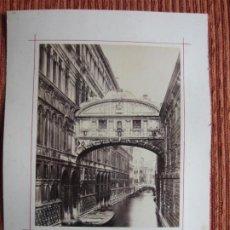 Fotografía antigua: 1870-ITALIA. 2 FOTOGRAFÍAS ORIGINALES GRANDES EN ALBUMINA DE PALACIO GRAN CANAL VENECIA-SAN MARCOS. Lote 191722655
