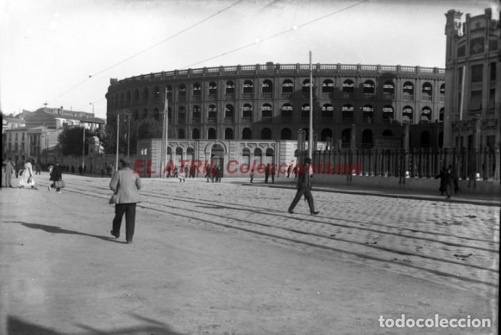 VALENCIA, VISTA PLAZA DE TOROS - CLICHE ORIGINAL NEGATIVO EN CRISTAL - AÑOS 1910-1930 (Fotografía Antigua - Albúmina)