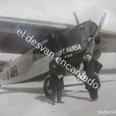 Fotografía antigua: LOTE 5 FOTOS AEROPLANO DE HÉLICE LUFTHANSA. AÑOS 1920-30S. MED. APROXIMADAS: 11 X 9 CTMS. Lote 192804373