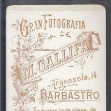 Fotografía antigua: BARBASTRO.- GRAN FOTOGRAFÍA DE M. GALLIFA. Lote 194214040
