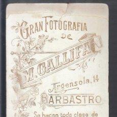 Fotografía antigua: BARBASTRO.- GRAN FOTOGRAFÍA DE M. GALLIFA. Lote 194214141