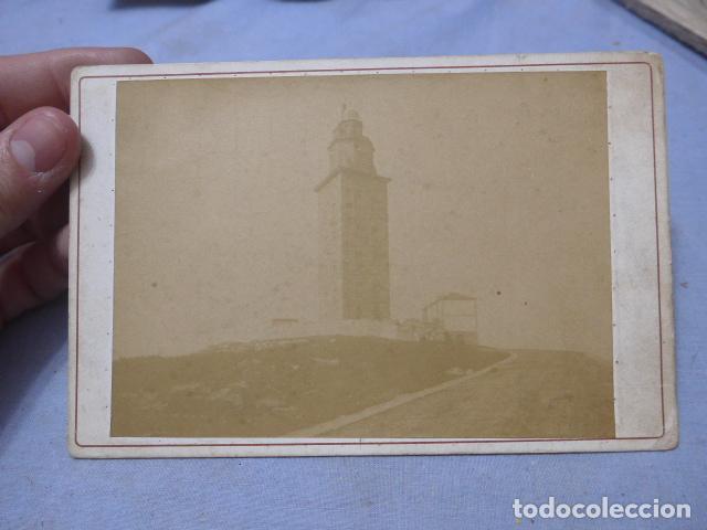 * ANTIGUA FOTOGRAFIA DE FARO TORRE DE HERCULES DE FINALES SIGLO XIX, CORUÑA, ORIGINAL. ZX (Fotografía Antigua - Albúmina)