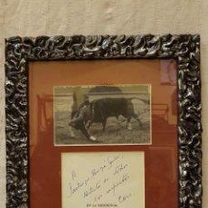 Fotografía antigua: FOTOGRAFIA TORERO DEDICADA CON ESCRITO. Lote 194589820