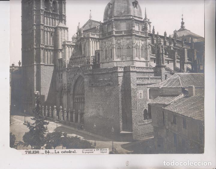 Fotografía antigua: GRAN FOTOGRAFÍA. TOLEDO. 24. LA CATEDRA. J. LAURENT Y CIA. 35 X 25 CM - Foto 3 - 194634056