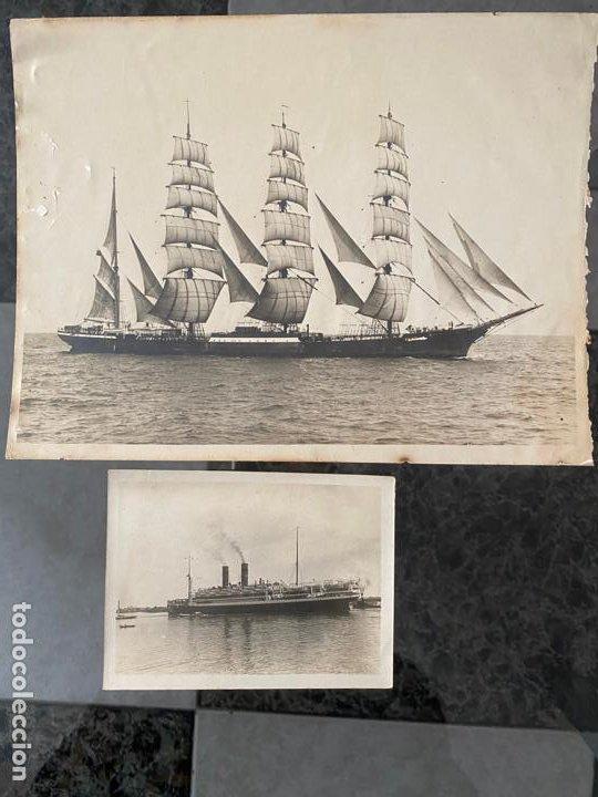 LOTE DE 2 FOTOGRAFIAS DE BARCOS , UNA DE ELLAS DE 1914 , A DOCUMENTAR (Fotografía Antigua - Albúmina)
