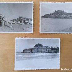 Fotografía antigua: TRES FOTOS PEÑISCOLA (CASTELLON) AÑOS 1956 Y 1959. 10 X 7 CM (APROX). Lote 196090950