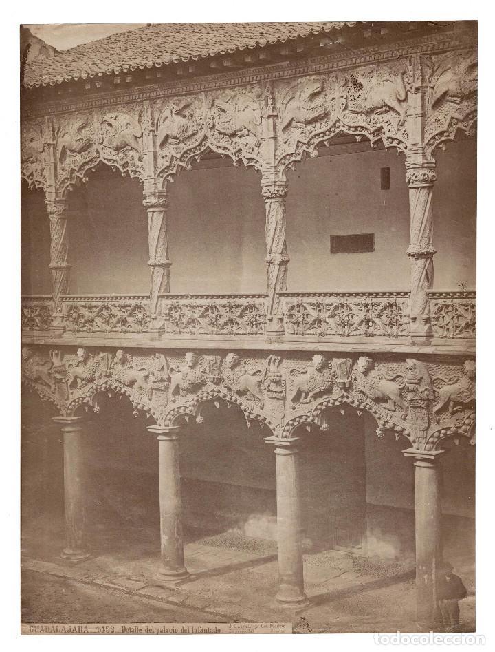 GUADALAJARA.- 1452. DETALLE DEL PALACIO DEL INFANTADO.- J. LAURENT. 25X33. (Fotografía Antigua - Albúmina)