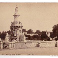 Fotografía antigua: ARANJUEZ.(MADRID).- FUENTE DE LA PLAZA DE SAN ANTONIO. J. LAURENT Y Cª. 33X23.. Lote 196339360