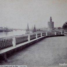 Fotografía antigua: SEVILLA. 1357. LA TORRE DEL ORO Y EL PUERTO DESDE SAN TELMO. LAURENT. Lote 196979640