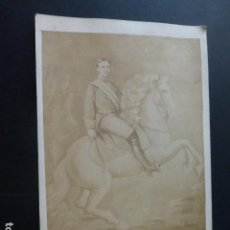 Fotografía antigua: ALFONSO XIII A CABALLO FOTOGRAFIA ALBUMINA HACIA 1880 8 X 15 CMTS. Lote 197114470