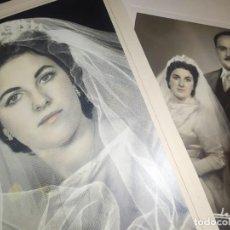 Fotografía antigua: LOTE DOS FOTOGRAFÍAS ANTIGUAS BODA NOVIOS NOVIA ESTUDIO DERREY VALENCIA 1956? PRECIOSAS. Lote 197252713