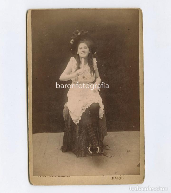 RETRATO DE TRAVIATA. 1890'S. FOTOGRAFÍA: JOSEP MARIA CAÑELLAS, PARIS. CABINET 11X16,5 CM (Fotografía Antigua - Albúmina)