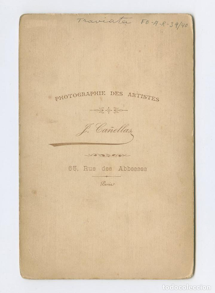 Fotografía antigua: Retrato de Traviata. 1890s. Fotografía: Josep Maria Cañellas, Paris. Cabinet 11x16,5 cm - Foto 2 - 199752756