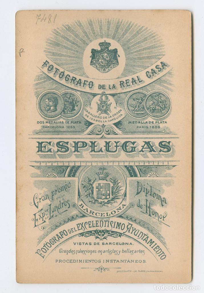 Fotografía antigua: RETRATO ERÓTICO DE ESTUDIO, 1890. FOTO: ANTONI ESPLUGAS, BARCELONA. 11X16,5 CM. - Foto 2 - 199783341