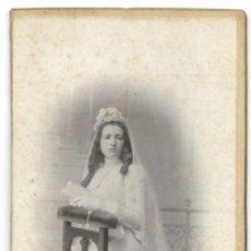 Fotografía antigua: NIÑA DE COMUNIÓN FINALES SIGLO XIX PRINCIPIOS XX - FOTÓGRAFO A. ESPLUGAS - BARCELONA. Lote 206250655