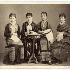 Fotografía antigua: FEMENIAS, ESTUPENDO RETRATO DE 4 ADOLESCENTES EN FORMATO CABINET CARD. Lote 207276840