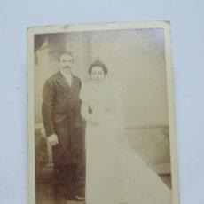 Fotografía antigua: FOTOGRAFIA ALBUMINA DE PAREJA DE FINALES DE SIGLO XIX. FOTO L. MULOT, MIDE 16,5 X 11 CMS.. Lote 207353673