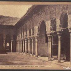 Fotografía antigua: GRANADA 1121 EXTERIOR GALERÍA IZQUIERDA DEL PATIO DE LOS LEONES. J. LAURENT. FOTOGRAFÍA ALBÚMINA. Lote 209764915