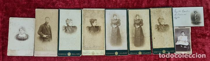 COLECCION DE 9 FOTOGRAFIAS FAMILIARES. ALBUMINA. ESPAÑA. CIRCA 1900. (Fotografía Antigua - Albúmina)