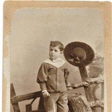 Fotografía antigua: NIÑO CON UN ARO - COMPANY FOTÓGRAFO, MADRID - 1º ENERO DE 1899. Lote 210934999