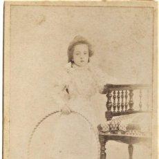 Fotografía antigua: PRECIOSA NIÑA CON UN ARO - FOTÓGRAFÍA PARISIEN, VALENCIA - FINALES S. XIX PRINCIPIOS XX. Lote 210935432