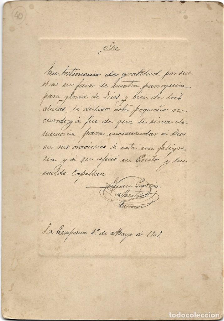 Fotografía antigua: CURA PÁRROCO DE LA CAMPANA (SEVILLA) - FOTÓGRAFO A.MORALES, SEVILLA - FECHADA 1º MAYO 1909 - Foto 4 - 210936929