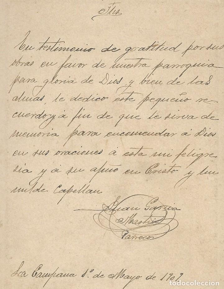 Fotografía antigua: CURA PÁRROCO DE LA CAMPANA (SEVILLA) - FOTÓGRAFO A.MORALES, SEVILLA - FECHADA 1º MAYO 1909 - Foto 5 - 210936929