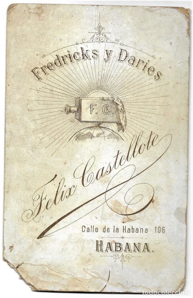Fotografía antigua: RETRATO DE UN HOMBRE Y UN JOVEN - FOTÓGRAFO FREDRICKS Y DARIES FELIX CASTELLOTE, HABANA (CUBA) - Foto 4 - 210987877