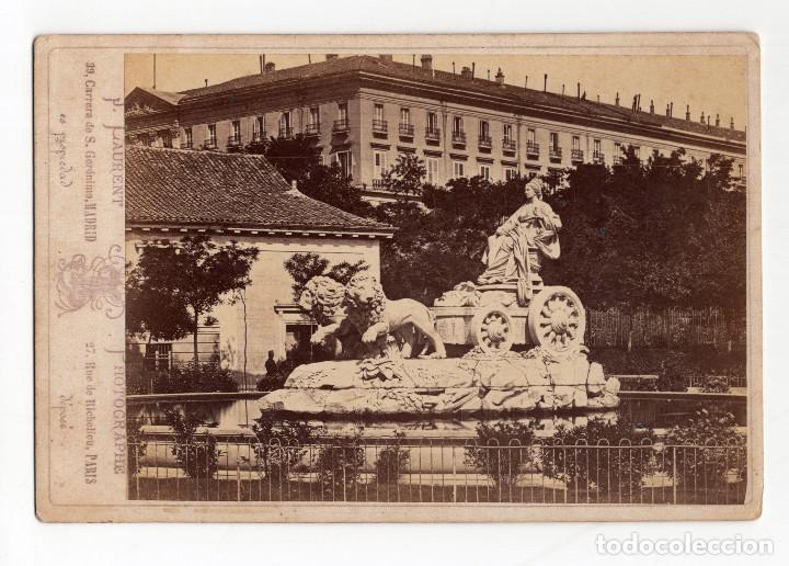 MADRID.- LA CIBELES. FOTO J. LAURENT 16,5X11.TOTALES. (Fotografía Antigua - Albúmina)