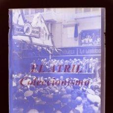 Fotografía antigua: VALENCIA, PLAZA DE LA MERCED PLACA AL MUSICO PEYDRO - AÑO 1931 - PLACA CRISTAL NEGATIVO. Lote 211962491