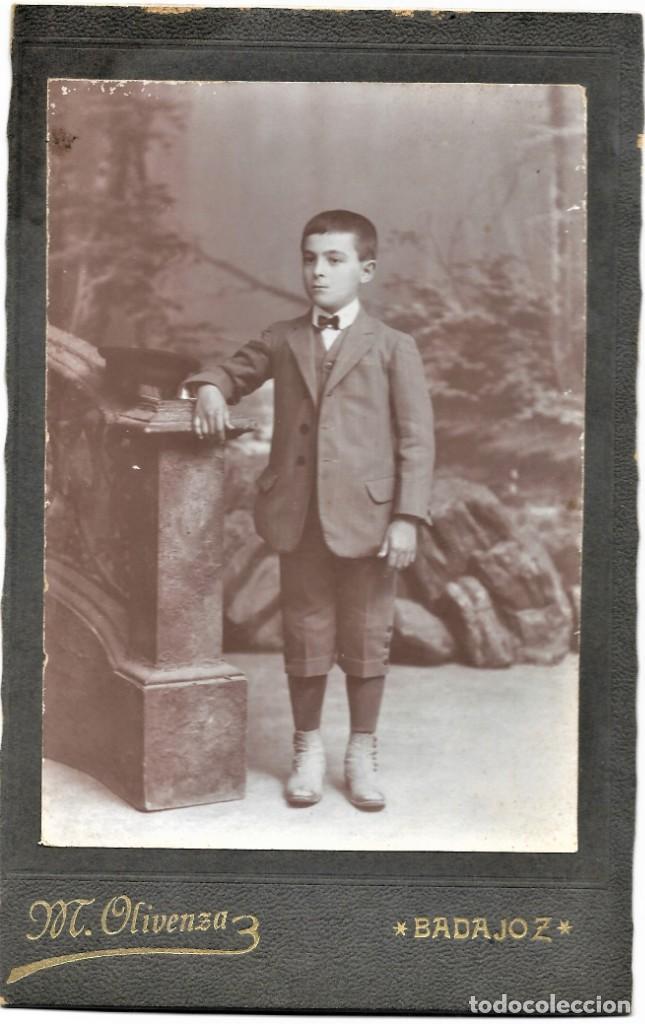 Fotografía antigua: RETRATO DE UN NIÑO - FOTÓGRAFO MIGUEL OLIVENZA, BADAJOZ - FINALES SIGLO XIX PRINCIPIOS XX - Foto 2 - 212033337