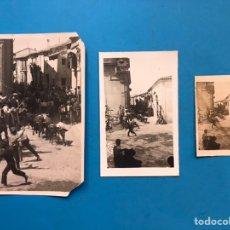 Fotografía antigua: 3 FOTOGRAFIAS ANTIGUAS - AÑOS 1930-40 - ENCIERRO TOROS, DESCONOCIDA. Lote 213223745