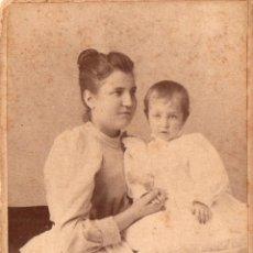 Fotografía antigua: FOTO ALBERTO KERN - BARCELONA FOTO MADRE E HIJA CON REVERSO. Lote 215275766