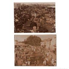 Fotografía antigua: LAGOS.(NIGERIA, ÁFRICA).- 2 ALBÚMINAS.MERCADO EN EL PUERTO Y ESTACIÓN DE AUTOBUSES.H.J.FREEMAN.. Lote 219579690