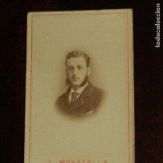 Fotografía antigua: FOTOGRAFIA ALBUMINA TIPO CDV DE CABALLERO, FOTO L. MORATALLA, MADRID, MIDE 5,5 X 3,5 CMS.. Lote 221128863