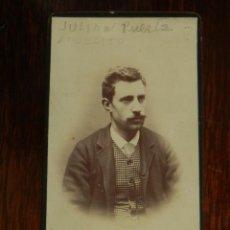 Fotografía antigua: FOTOGRAFIA ALBUMINA TIPO CDV, CABALLERO, MIDE 10,5 X 6 CMS. APROX.. Lote 221132106