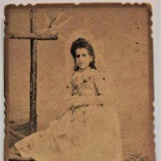 Fotografía antigua: FOTOGRAFIA DE UNA NIÑA DE COMUNIÓN FINALES SIGLO XIX PRINCIPIOS XX - FOTÓGRAFO F. SIMARRO - JÁTIVA. Lote 223721871