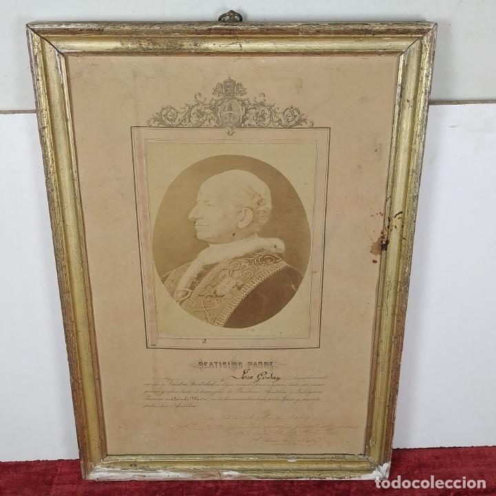 Fotografía antigua: BENDICIÓN APOSTÓLICA. CON FOTOGRAFÍA ALBÚMINA DE LEON XIII. ROMA. 1887 - Foto 2 - 224313613