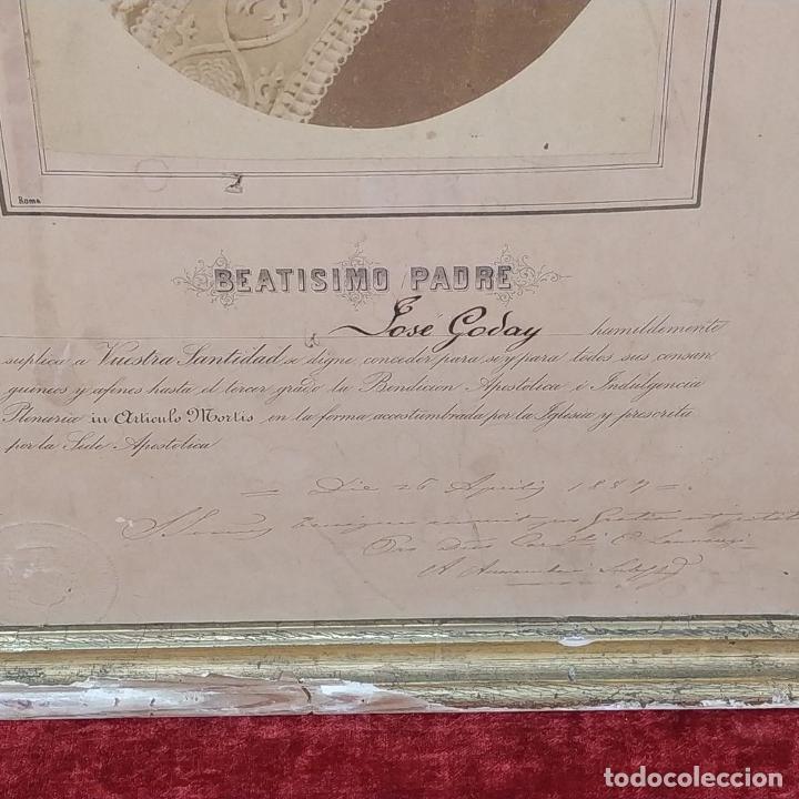 Fotografía antigua: BENDICIÓN APOSTÓLICA. CON FOTOGRAFÍA ALBÚMINA DE LEON XIII. ROMA. 1887 - Foto 4 - 224313613