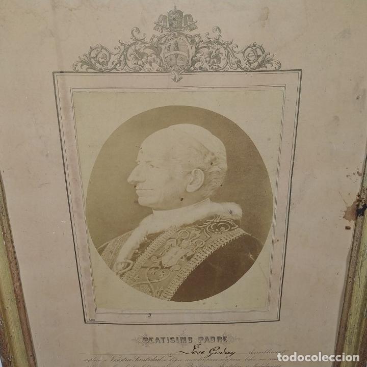 Fotografía antigua: BENDICIÓN APOSTÓLICA. CON FOTOGRAFÍA ALBÚMINA DE LEON XIII. ROMA. 1887 - Foto 5 - 224313613