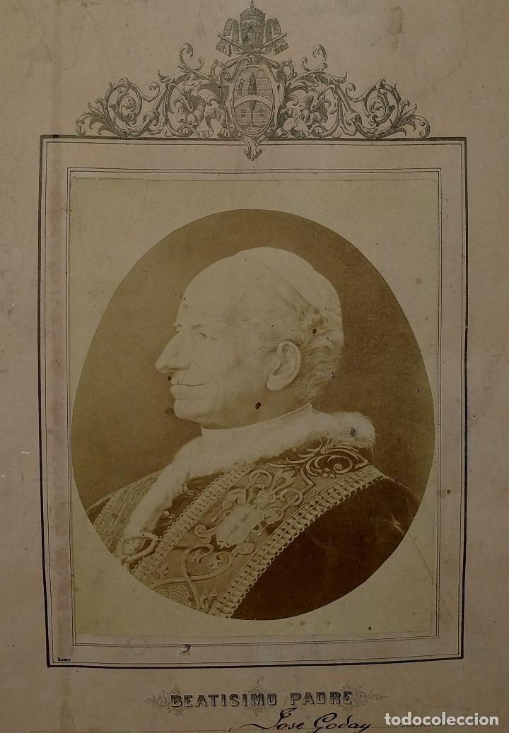 BENDICIÓN APOSTÓLICA. CON FOTOGRAFÍA ALBÚMINA DE LEON XIII. ROMA. 1887 (Fotografía Antigua - Albúmina)