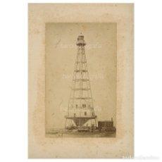 Fotografía antigua: FAR DE BUDA - DELTA DE L'EBRE - TARRAGONA, AÑO 1885. FOTOGRAFÍA DEDICADA, VER REVERSO.. Lote 224792762