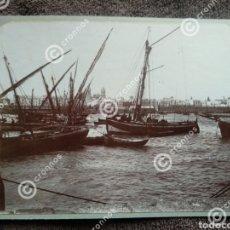 Fotografía antigua: ANTIGUA ALBÚMINA PUERTO DE CÁDIZ SOBRE 1890. Lote 225132135