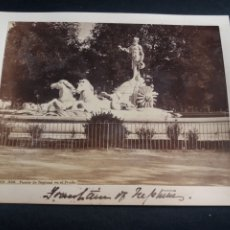 Fotografía antigua: FOTO CABINET LAURENT MADRID FUENTE NEPTUNO ALBUMINA ORIGINAL XIX. Lote 226786335