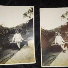 Fotografía antigua: FOTOGRAFIA CHICAS HERMANAS REMEDIOS RAQUEL GARCÍA DEDICADA A PRIMO JUAN EDUARDO ALBA 1930. Lote 235838240