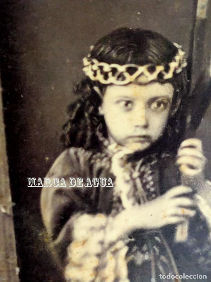 Fotografía antigua: Fotografia post mortem de niña de Nazareno. Vda de Valero y Hermano politico. Cartagena. Murcia. - Foto 4 - 243647385